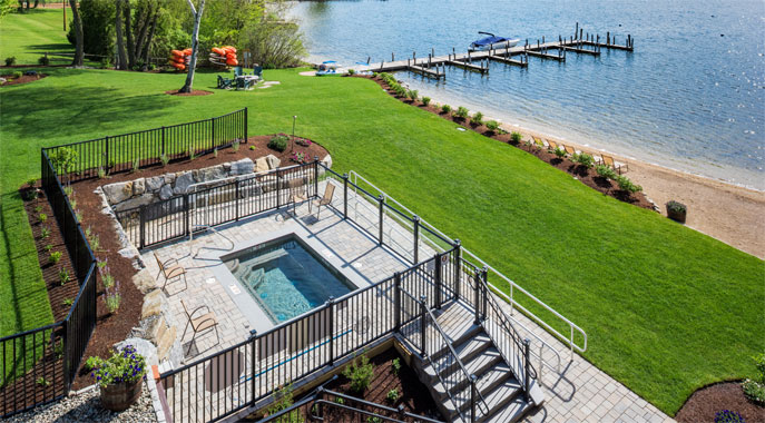 The four-season outdoor hot tub at the Center Harbor Inn provides great views over the lake.