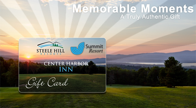 A giftcard for the Center Harbor Inn, Steele Hill and The Summit Resort displayed infront of the view